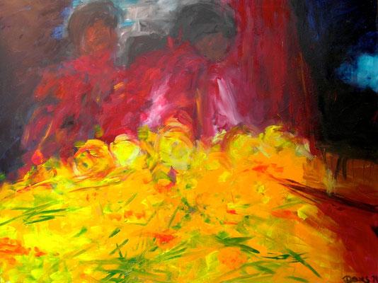 Blumenmarkt, Acryl auf Leinwand, 120 x 160 cm, 1992, verkauft