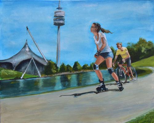Olympiapark mit Inlineskaterin, Acryl auf Leinwand, 80 x 100 cm, 2021