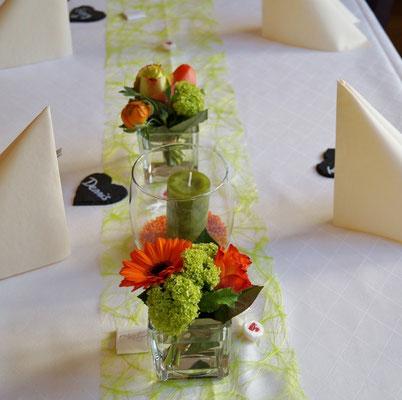 Gläser orange-grün