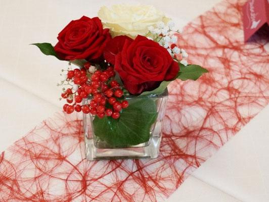 Gläser in Rot-Weiß