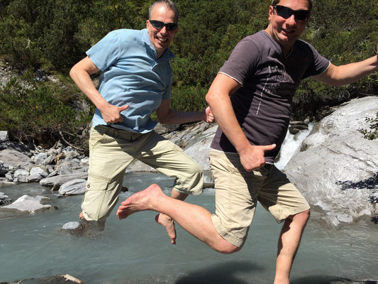 An der Flem in der Surselva bei Flims mit dem ersten Guest-Jumper André, August 2015