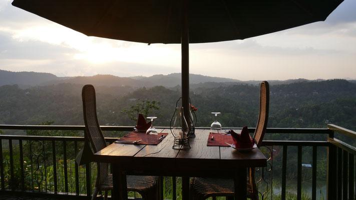 Aussicht von der Villa Rosa ausserhalb Kandy