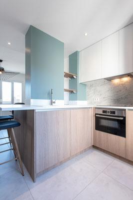 Côté cuisine, espace, rangement, tout est pensé pour être beau et pratique
