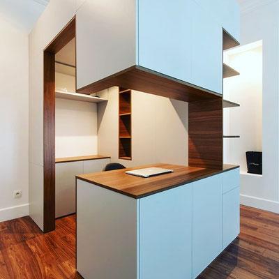 instagram, aménagement intérieur par un architecte, îlot et bureau, praticité et fonctionnalité