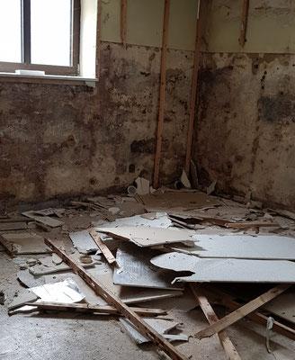 Auch im Untergeschoss wird gearbeitet: Die Wandverkleidung der ehem. Garderobe wird entfernt.