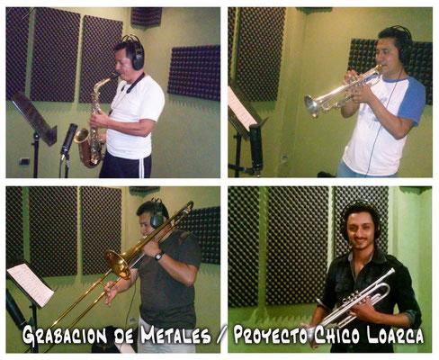 Felix Yojcom saxofones, Marvin Alvarado trompeta, Jose Luis Trombones, Dario Illescas Trompeta