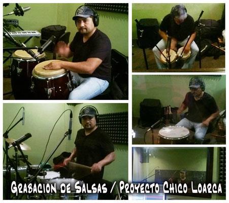 Mynor Garcia grabando percusiones