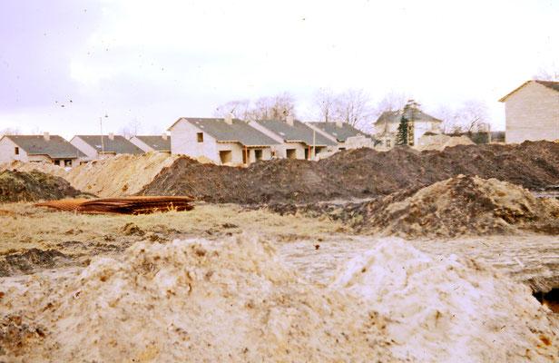 Siedlung Pestlolzzistraße Frühjahr 1961. Hintegrund  Villa Roberg