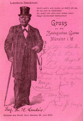Professor Hermann Landois auf einer zeitgenössischen Postkarte