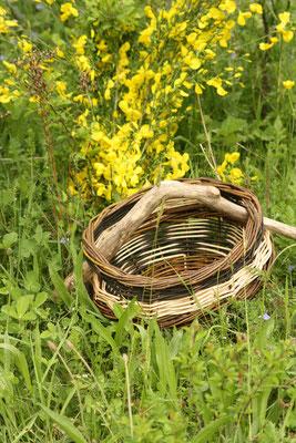 Weidenkorb auf der Wiese