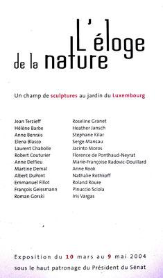 """2004 - """" L'éloge de la nature """" Jardin du Luxembourg, Paris - Roman Gorski"""