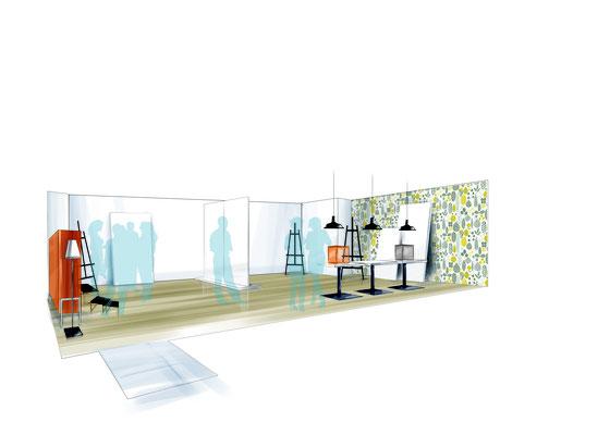 """Aménagement et décoration intérieure - Espace événementiel """"Vernissage"""" Direction artistique de l'agence Image Point Com"""