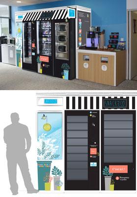 Identité visuelle corner DA - Distribution Automatique Snack&CO - Agence Image Point Com