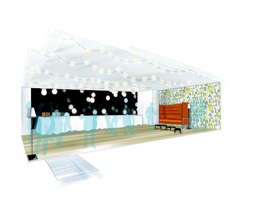 """Aménagement et décoration intérieure - Espace événementiel """"Cocktail"""" Direction artistique de l'agence Image Point Com"""