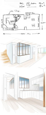 Croquis de réaménagement d'une maison - vente immobilière