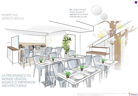 Design d'espace et croquis pour restaurant éphémère Sogeres Rolland garros