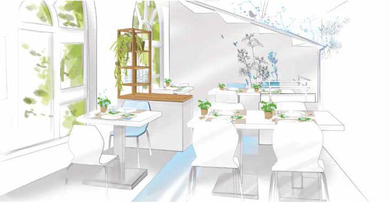 Design d'espace et roquis pour restaurant éphémère Sogeres Rolland garros