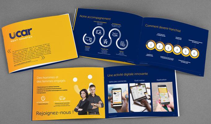 Création graphique de la plaquette Franchise Ucar - Création des infographies - Agence Business
