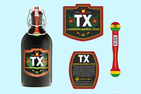 Brouwerij TX - Caribbean Imperial Stout etiketten