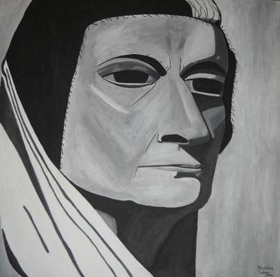 Indira Gandhi - acrilico su tela - 100 x 100 cm - 2014 - disponibile