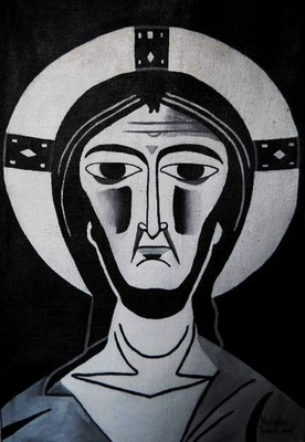 Jesus - idropittura su juta - 76 x 110 cm - 2016 - disponibile
