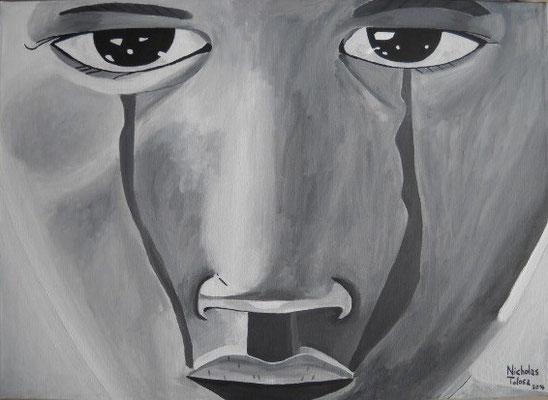 Lacrime nere - acrilico su tela - 70 x 50 cm - 2014 - disponibile