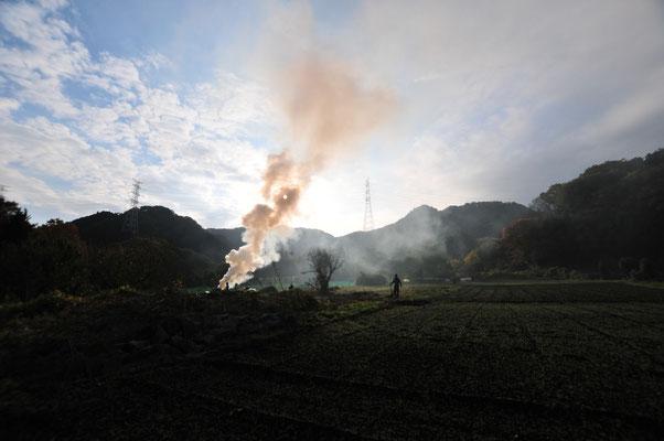 冬のうちに雑草を燃やす光景は冬の風物。