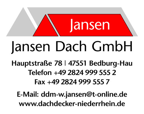 Sponsoringschild für den Dachdecker Jansen in Bedburg-Hau.