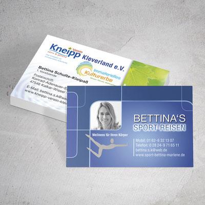 Muster der Visitenkarten des Kneipp-Verein Kleve und Bettina's Sportreisen