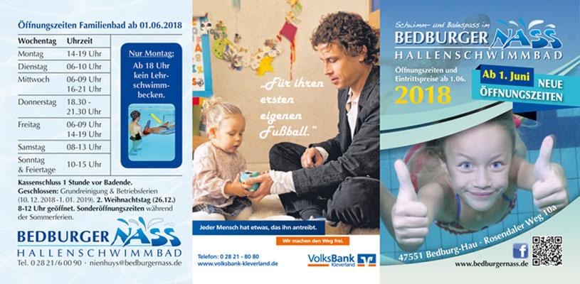 """DIN A7 großer 6-seitiger Folder mit der Eintrittspreisliste des Hallenbades """"BedburgerNass"""""""