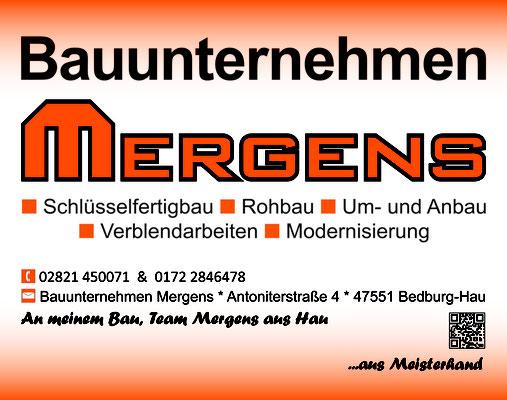 Sponsoringschild für den Bauunternehmer Mergens.