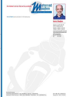 Muster Briefpapier der Firma Motorrad Maßen