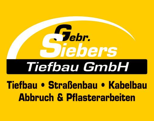 Sponsoringschild für die Tiefbau GmbH Siebers in Kleve.