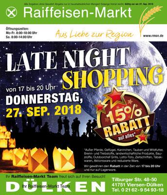 Einladungsanzeige z des Raiffeisen-Marktes zum Light-night-shopping.