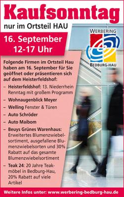 Anzeige zum verkaufsoffenen Sonntag in Bedburg-Hau vom Werbering Bedburg-Hau.