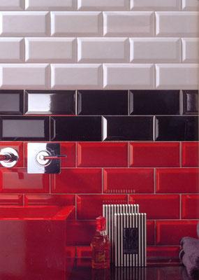 "Metrofliese: Serie ""CV"", Farbe: Negro, Rojo, Format: 7,5 x 15 cm"