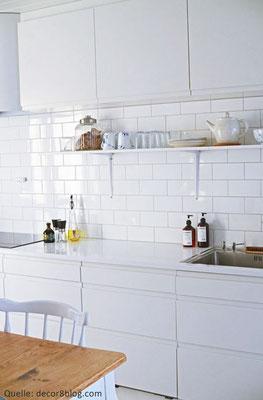 "Fliese ohne Metrokante ""Liso"": Serie ""Neri"", Farbe: Blanco, Format: 10 x 20 cm"