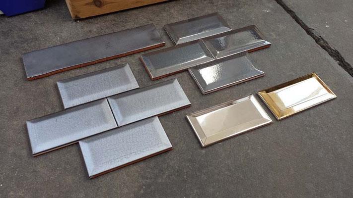 """Serie """"CV"""", Metrofliesen 7,5x15 cm / Sonderglasuren: Acero Mate, Acero Brillo, Oro"""