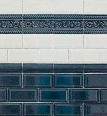 """Serie """"CV"""", Metro mit Craquelé-Glasur, Farbe: Azul Craquelé 7,5x15 cm"""