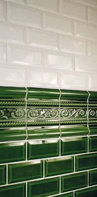 "Serie ""CV"", Metrofliesen 7,5x15 cm / Farbe: blanco + verde"