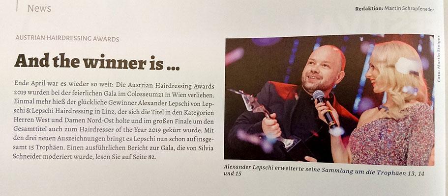 Bericht von TopHair Austria (Mai 2019) - Alexander Lepschi ist Hairdresser of the Year 2019
