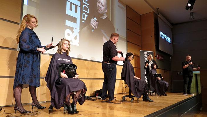 Manuela Pirngruber (Art Director), Stefan Schedlberger (Art Director) und Kerstin Pöchtrager (Top Stylist) - LIVE on STAGE
