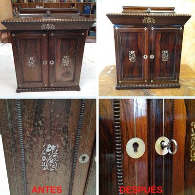 Restauración de gabinete monedero de estilo victoriano inglés del siglo XIX.