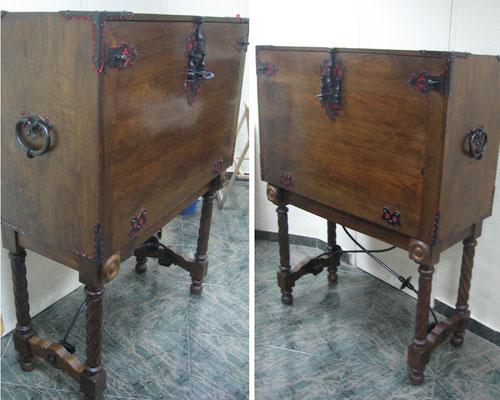 Restauración de bargueño de nogal del siglo XX.