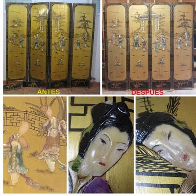 Restauración de biombo chino de coromandel. Siglo XX. (Parte delantera)