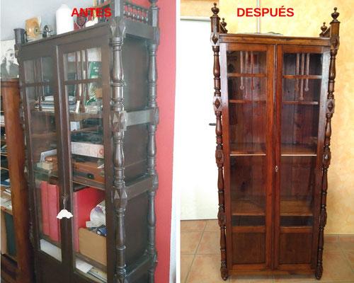 Restauración de vitrina alfonsina de finales del siglo XIX.