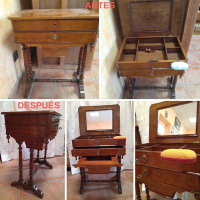 Restauración de costurero inglés del siglo XIX.
