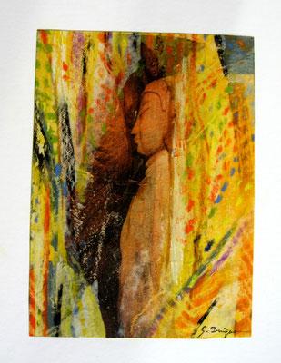 Le sculpteur et son modèle (collage et pastel, 30 x 40 cm, 2010)