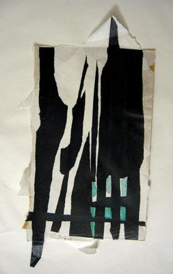 La grille noire (collage acrylique, 70 x 50 cm, 2014)