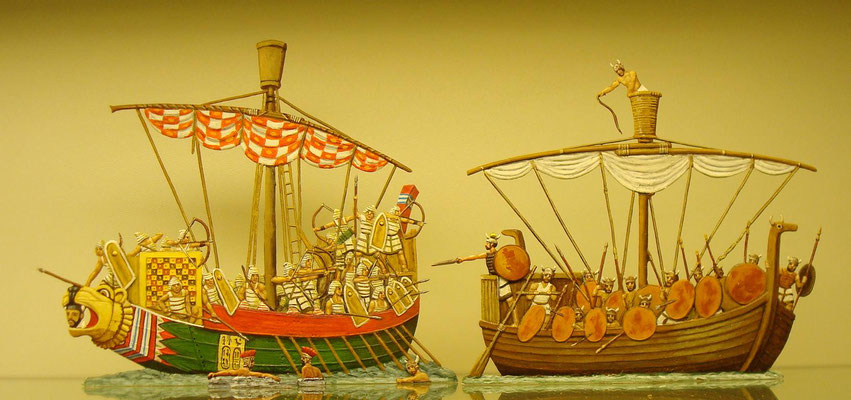 Seegefecht zwischen Ägyptern und Seevölkern